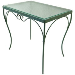 Wrought Iron and Glass Table by Woodard