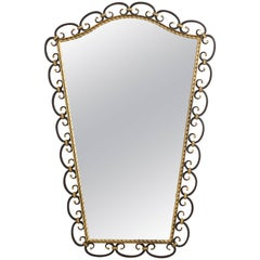 Wrought Iron Black and Gilded Mirror from the 1950s