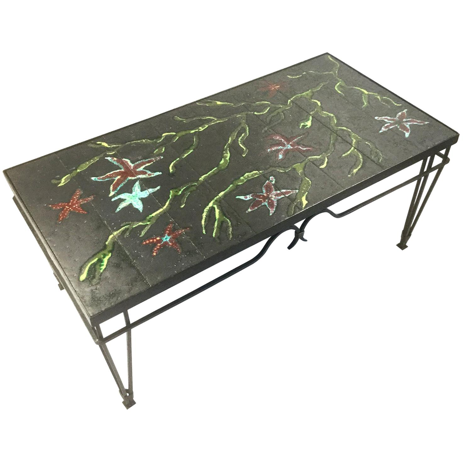 Wrought Iron and Lava Enamel Coffee Table Attributed to Jacques Adnet, 1940s