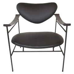 Wrought Iron and Leather Strap Arm Lounge Chair
