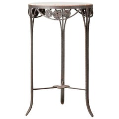Wrought Iron and Marble Art Deco Table, France, 1930