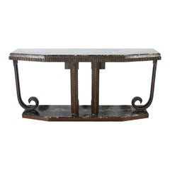 Wrought Iron and Marble Console after E. Brandt