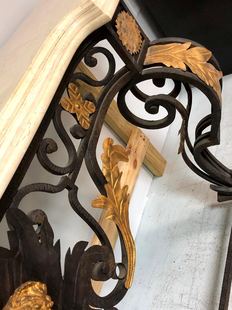 Wrought Iron and Marble Console Table with Lion Paws For Sale 7