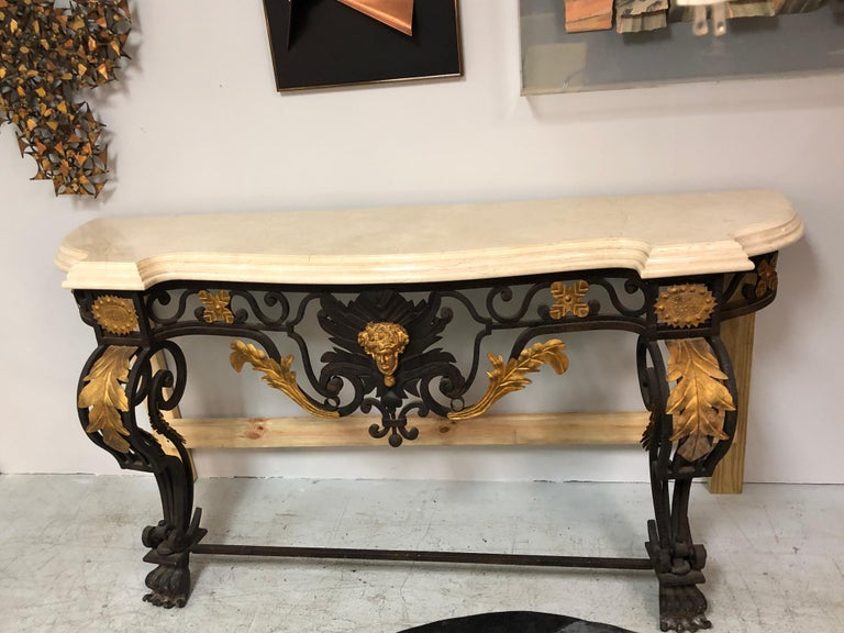 Wrought Iron and Marble Console Table with Lion Paws For Sale 8