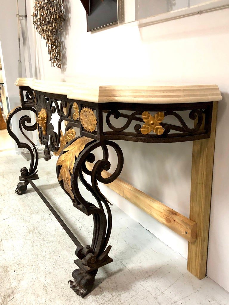 Wrought Iron and Marble Console Table with Lion Paws For Sale 9