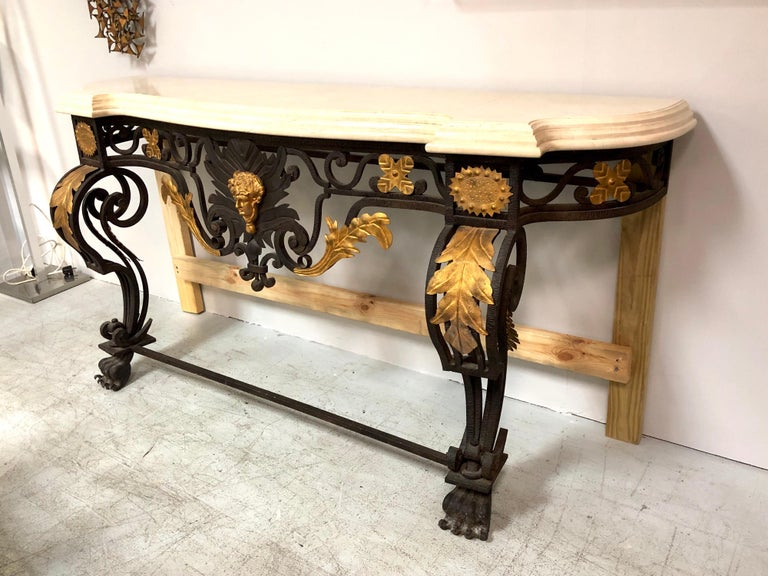 Wrought Iron and Marble Console Table with Lion Paws For Sale 11