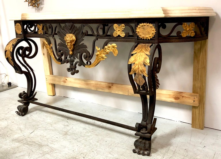 Wrought Iron and Marble Console Table with Lion Paws For Sale 12