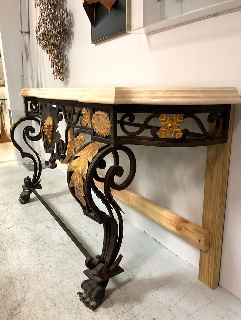Italian Wrought Iron and Marble Console Table with Lion Paws For Sale