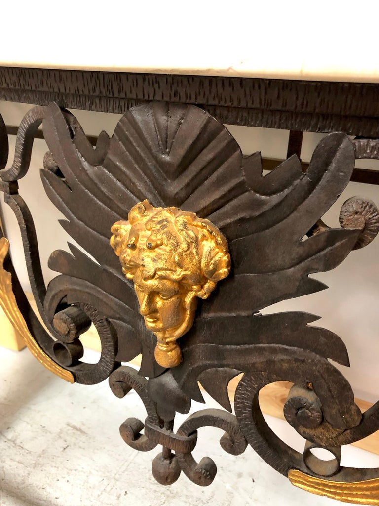 Mid-20th Century Wrought Iron and Marble Console Table with Lion Paws For Sale
