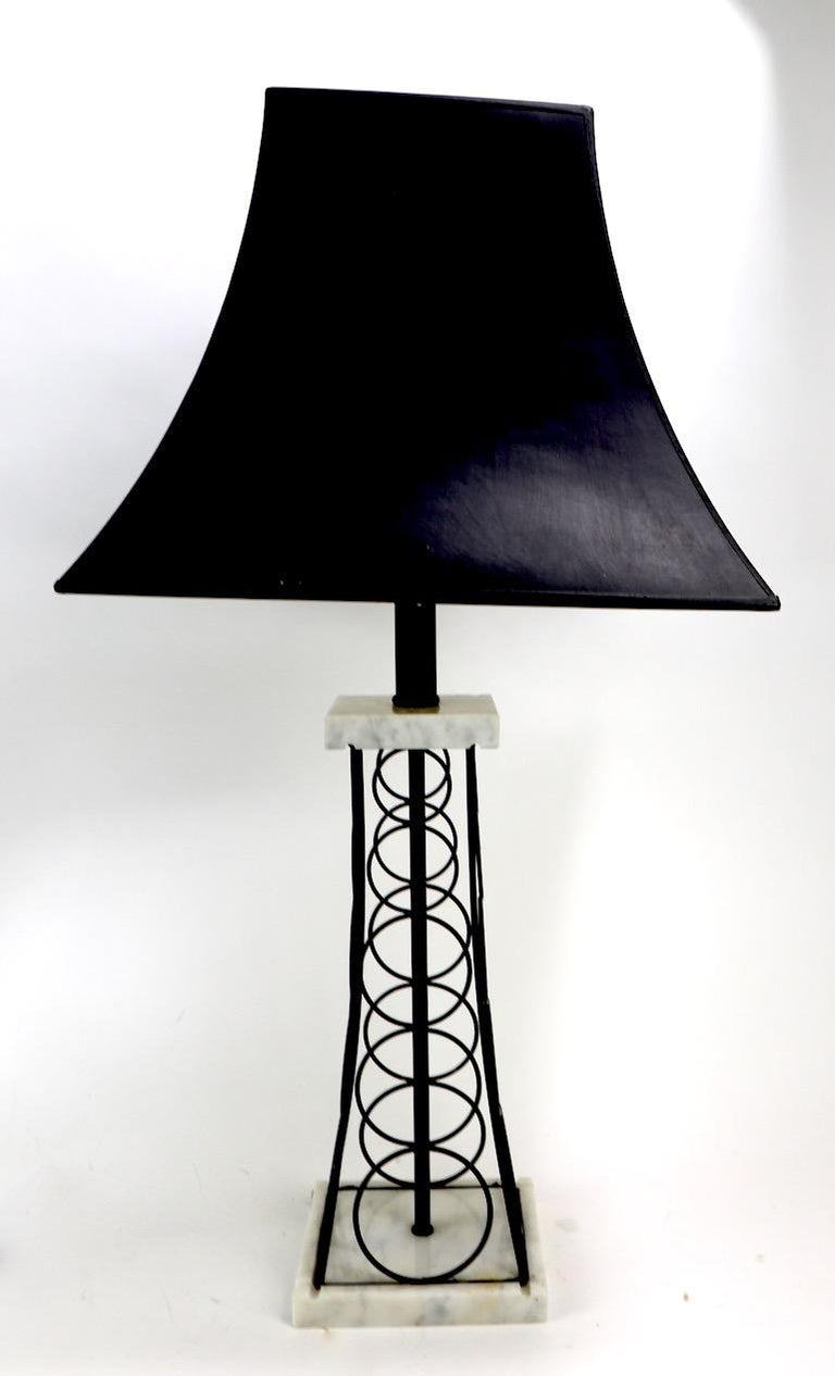 Wrought Iron and Marble Eiffel Tower Oil Derrick Form Table Lamp After Weinberg For Sale 4
