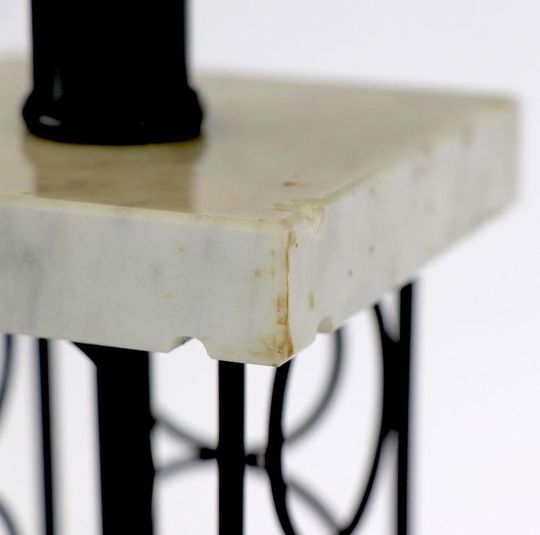Wrought Iron and Marble Eiffel Tower Oil Derrick Form Table Lamp After Weinberg For Sale 5