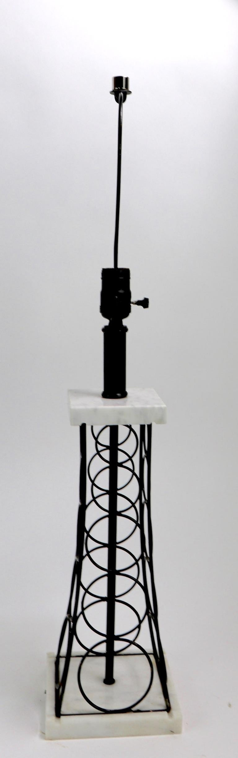 Mid-Century Modern Wrought Iron and Marble Eiffel Tower Oil Derrick Form Table Lamp After Weinberg For Sale