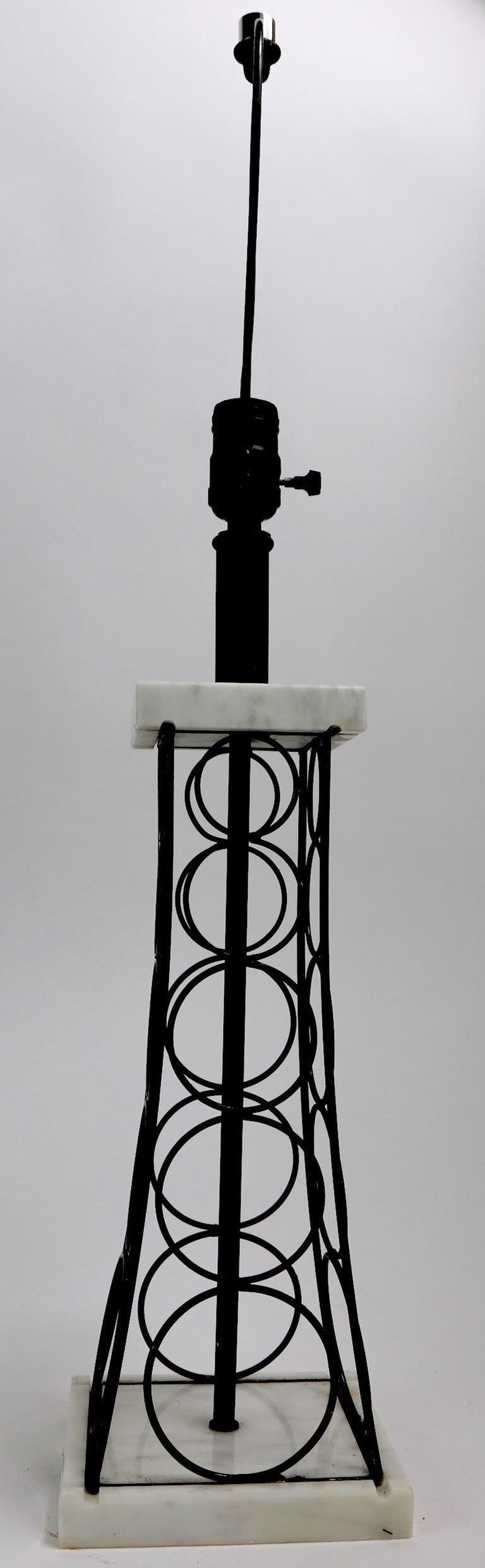 Wrought Iron and Marble Eiffel Tower Oil Derrick Form Table Lamp After Weinberg In Good Condition For Sale In New York, NY