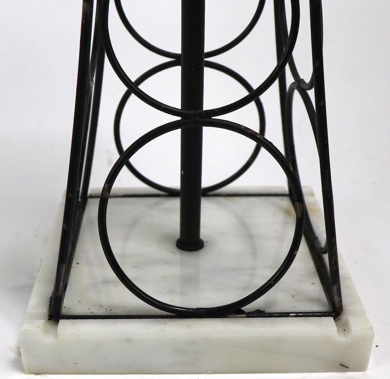 20th Century Wrought Iron and Marble Eiffel Tower Oil Derrick Form Table Lamp After Weinberg For Sale