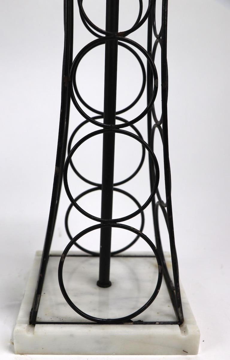 Wrought Iron and Marble Eiffel Tower Oil Derrick Form Table Lamp After Weinberg For Sale 1
