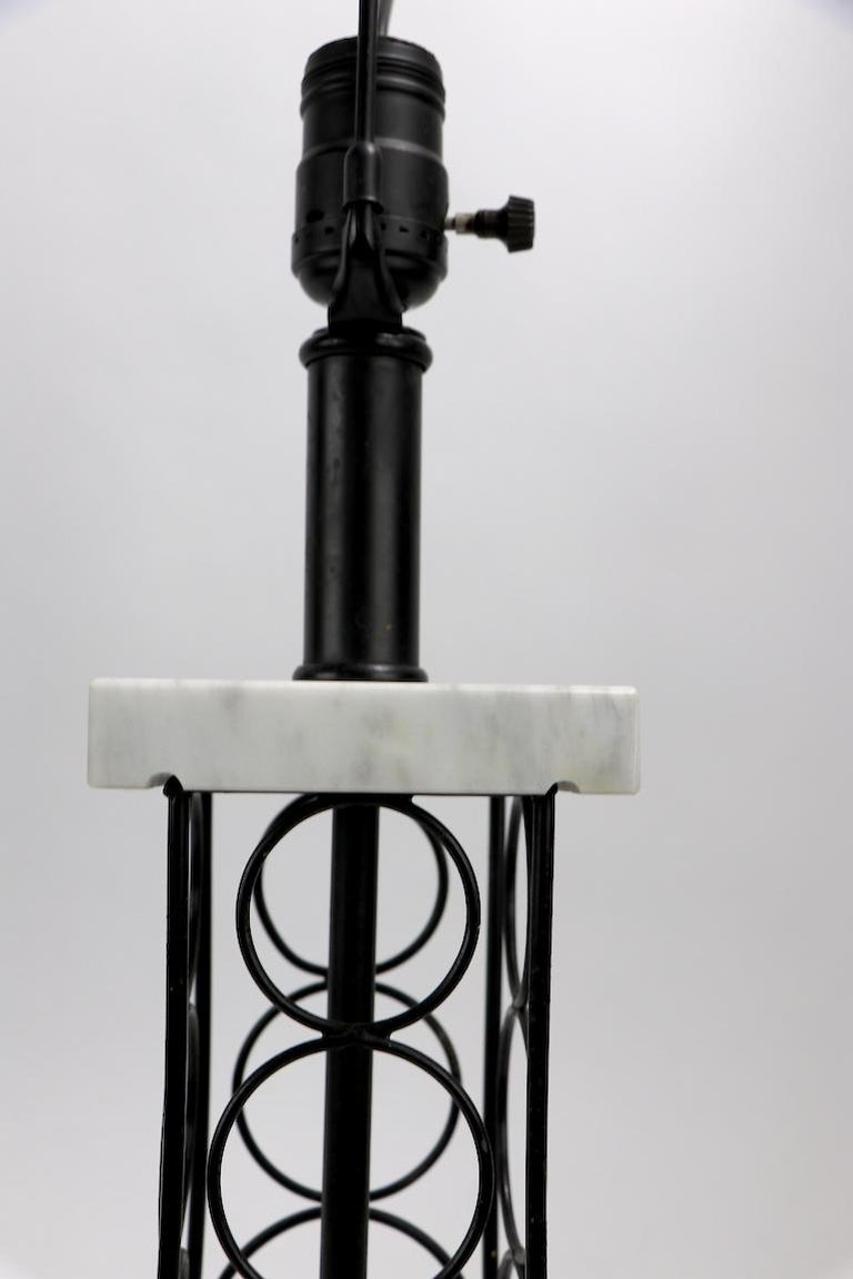 Wrought Iron and Marble Eiffel Tower Oil Derrick Form Table Lamp After Weinberg For Sale 2