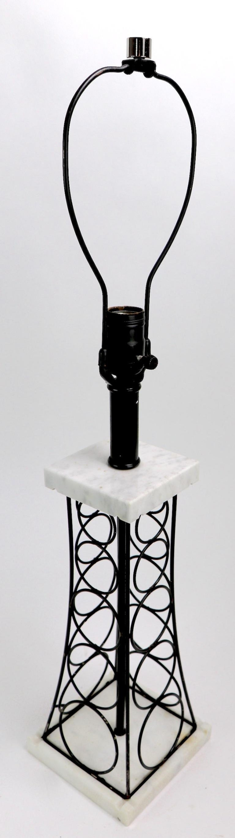 Wrought Iron and Marble Eiffel Tower Oil Derrick Form Table Lamp After Weinberg For Sale 3