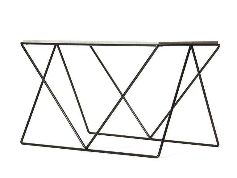 Mid-Century Modern Wrought Iron and Marble End Table by Darrell Landrum for Avard For Sale