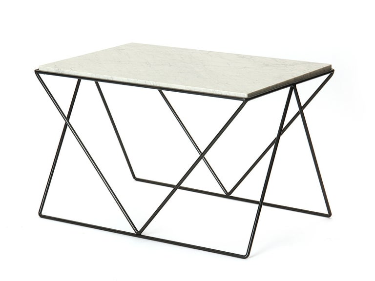 American Wrought Iron and Marble End Table by Darrell Landrum for Avard For Sale