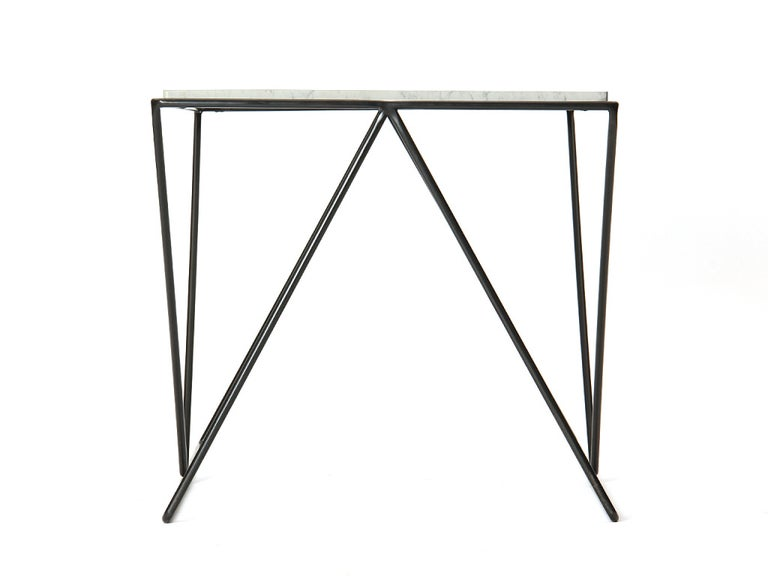 Wrought Iron and Marble End Table by Darrell Landrum for Avard In Good Condition For Sale In New York, NY