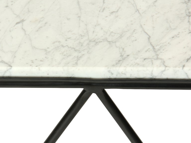 Wrought Iron and Marble End Table by Darrell Landrum for Avard For Sale 1