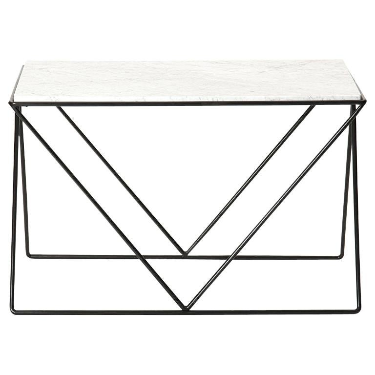 Wrought Iron and Marble End Table by Darrell Landrum for Avard For Sale
