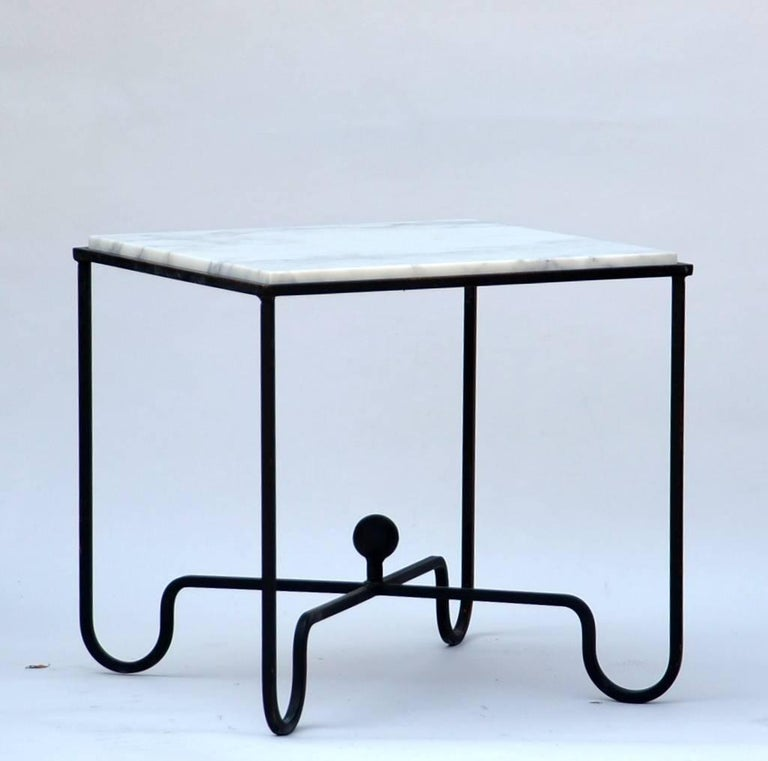 Wrought iron and marble 'Entretoise' side table by Design Frères. Great between 2 armchairs.  Also sold as a pair or more.  Indoor or outdoor use.