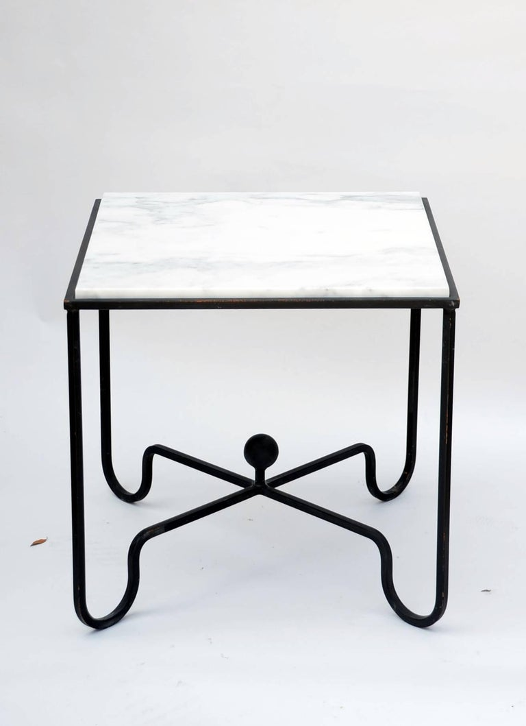 French Wrought Iron and Marble 'Entretoise' Side Table by Design Frères For Sale