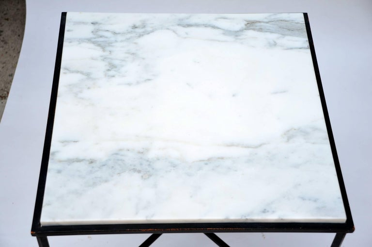 Polished Wrought Iron and Marble 'Entretoise' Side Table by Design Frères For Sale