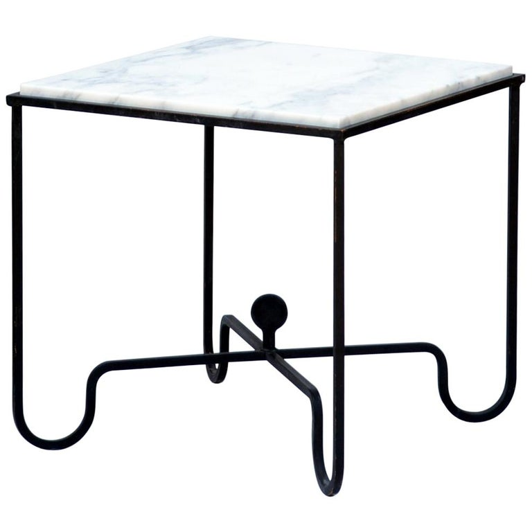 Wrought Iron and Marble 'Entretoise' Side Table by Design Frères For Sale