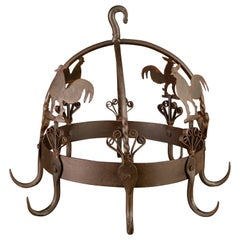 Wrought Iron and Metal Rooster Hanging Pot Rack