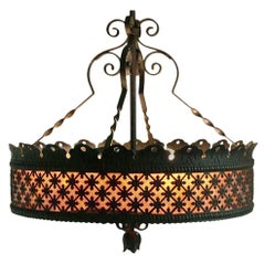 Wrought Iron And Mica Chandelier