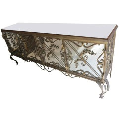 1950'Wrought Iron and Mirrors Sideboard