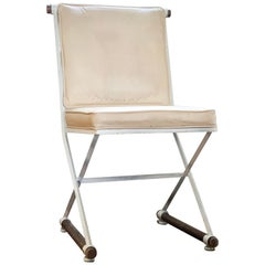 Wrought Iron and Oak Cleo Baldon White Terra Dining Chair, Midcentury CLEARANCE