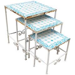 Wrought Iron and Tile Garden Nesting Tables