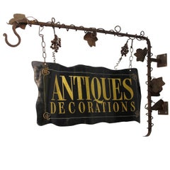 Wrought Iron and Tole Painted Antiques Trade Sign