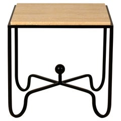 Wrought Iron and Travertine 'Entretoise' Side Table by Design Frères