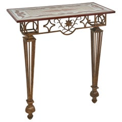 Wrought Iron and Verre Églomisé Topped Console, After Poillerat, France, 1950