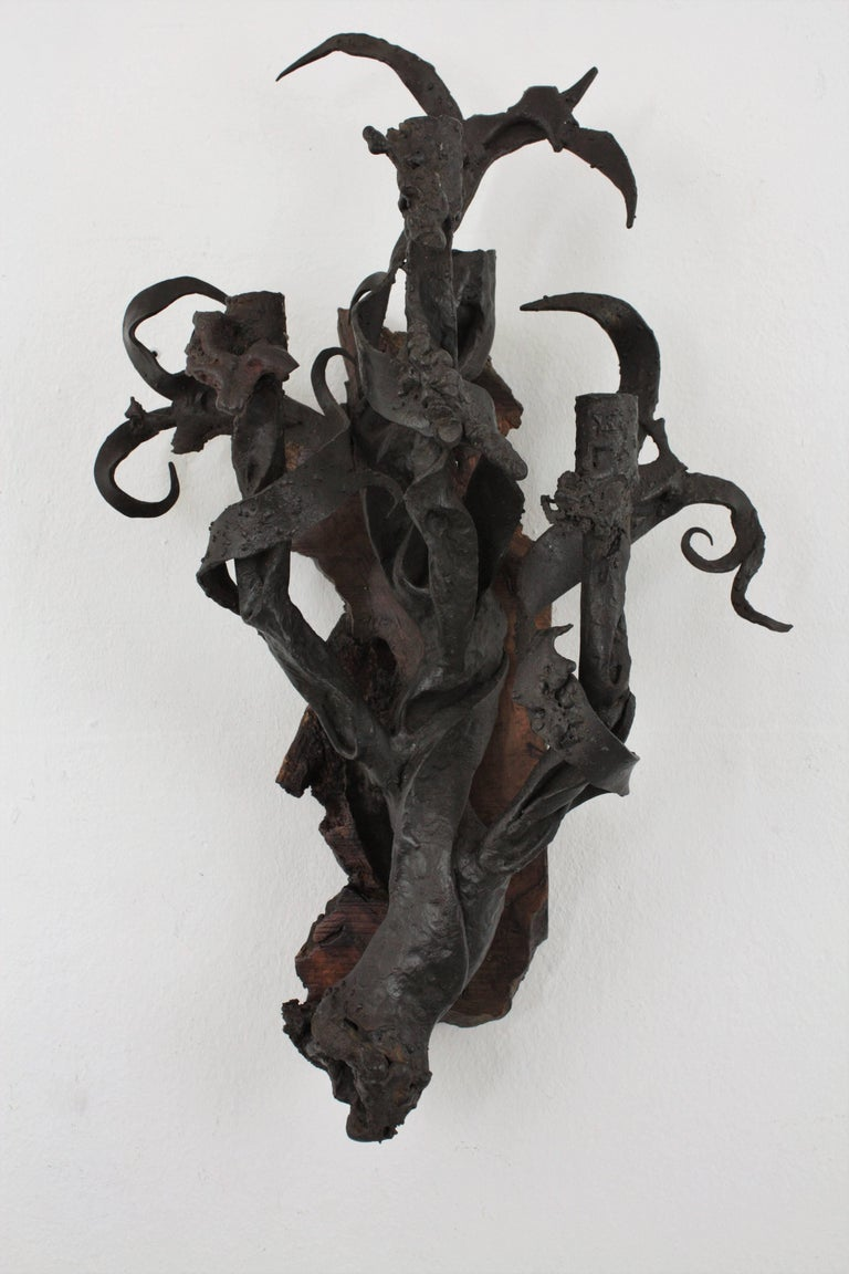 Art Nouveau Wrought Iron and Wood Wall Sconce Candelabra ... on Wood And Metal Wall Sconces id=65454