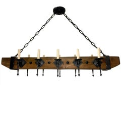 Wrought Iron and Wood Chandelier