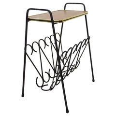 Wrought Iron and Wood Side Table with Magazine Rack from the 1950s