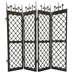 Wrought Iron Architectural Four-Panel Screen