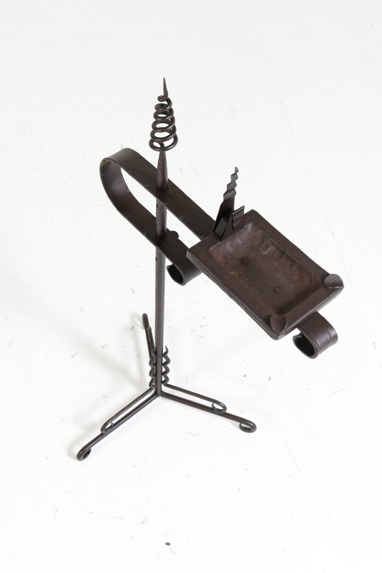 Wrought Iron Art Deco Amsterdam School Ashtray Stand by J. Boerman, 1920s In Good Condition For Sale In Amsterdam, NL