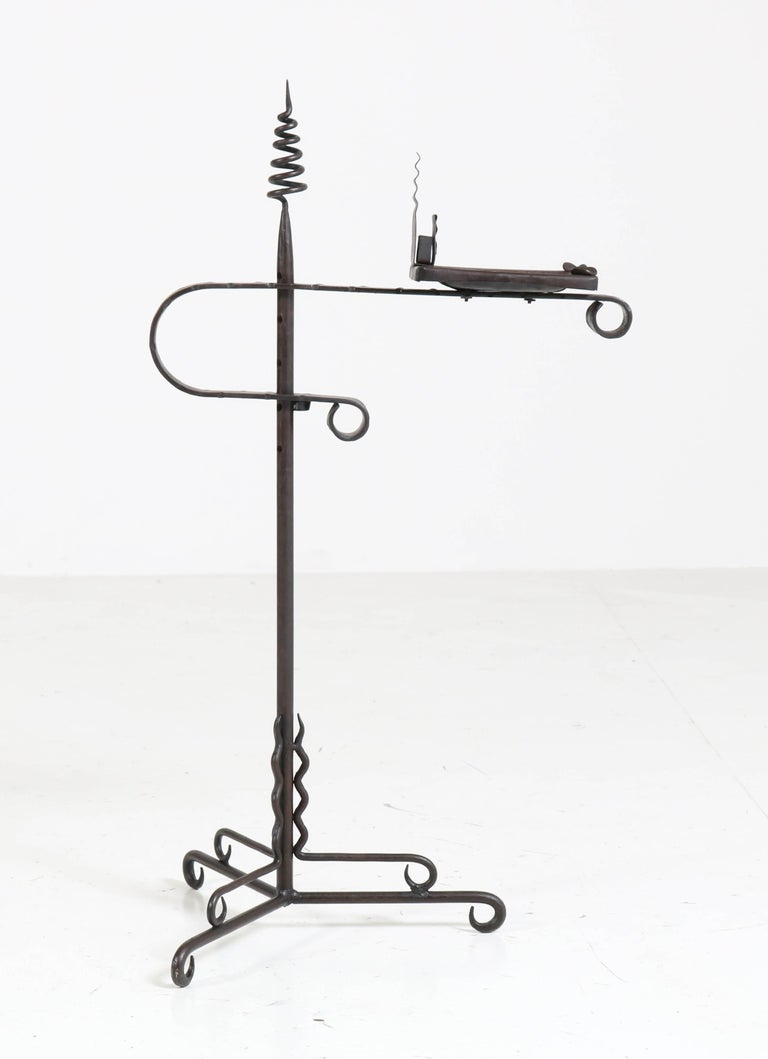 Wrought Iron Art Deco Amsterdam School Ashtray Stand by J. Boerman, 1920s For Sale 1