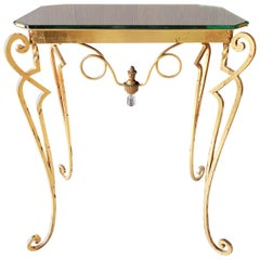 Wrought Iron Art Deco Console Side Table Attributed to Drouet, France, 1940