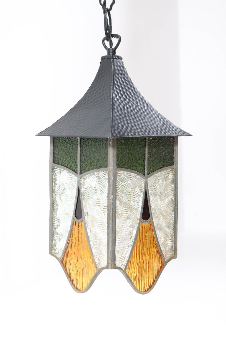 Wrought Iron Art Deco Lantern with Stained Glass For Sale 5