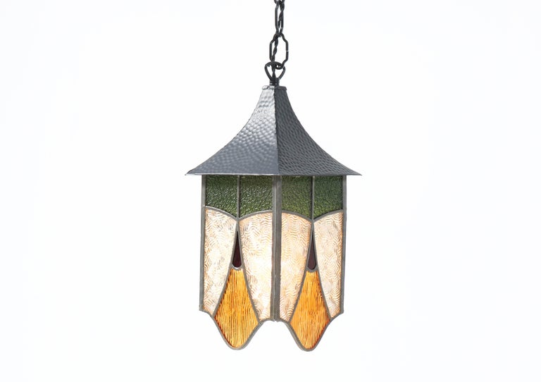 Dutch Wrought Iron Art Deco Lantern with Stained Glass For Sale