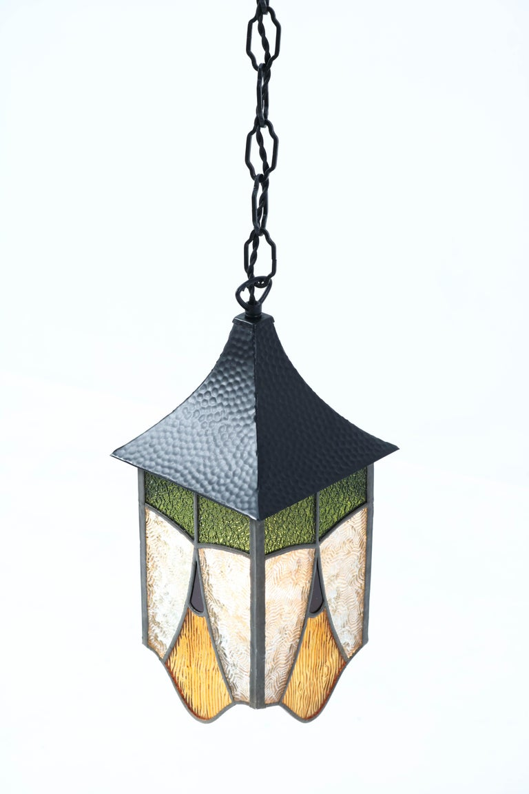 Wrought Iron Art Deco Lantern with Stained Glass In Good Condition For Sale In Amsterdam, NL
