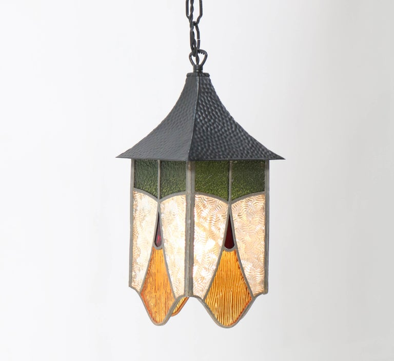 Mid-20th Century Wrought Iron Art Deco Lantern with Stained Glass For Sale