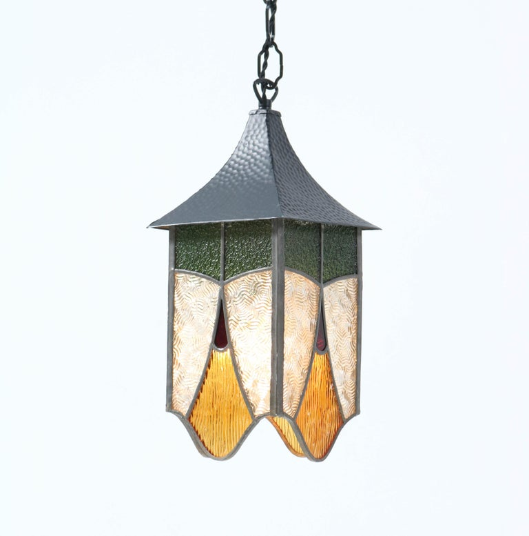 Wrought Iron Art Deco Lantern with Stained Glass For Sale 1